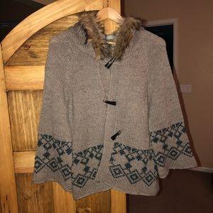 Buffalo David Bitton fur-lined hooded cardigan.